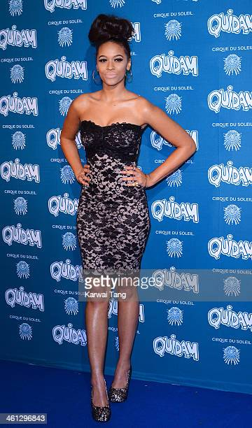 Tamera Foster attends the VIP night for Cirque Du Soleil Quidam at Royal Albert Hall on January 7 2014 in London England
