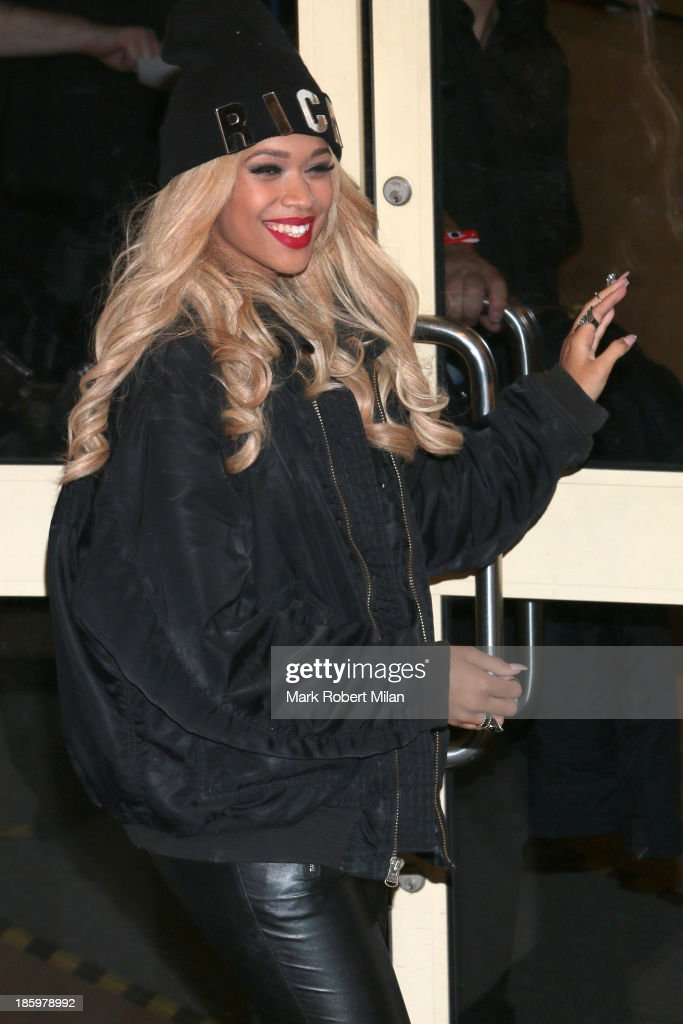 Tamera Foster leaving Fountain Studios after filming the X Factor live show on October 26, 2013 in London, England.