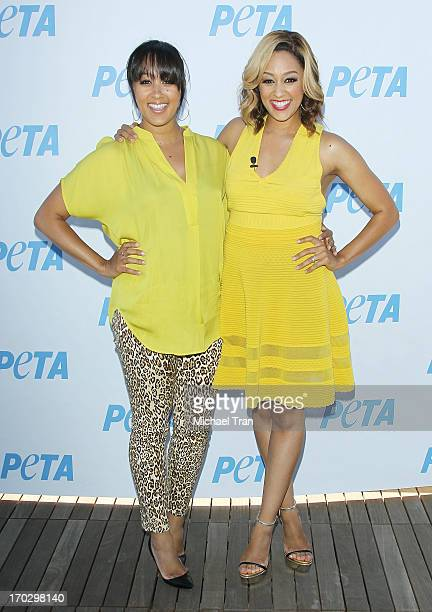 Tamera MowryHousley and Tia Mowry unveil sexy new PETA campaign held at The Bob Barker Building on June 10 2013 in Los Angeles California