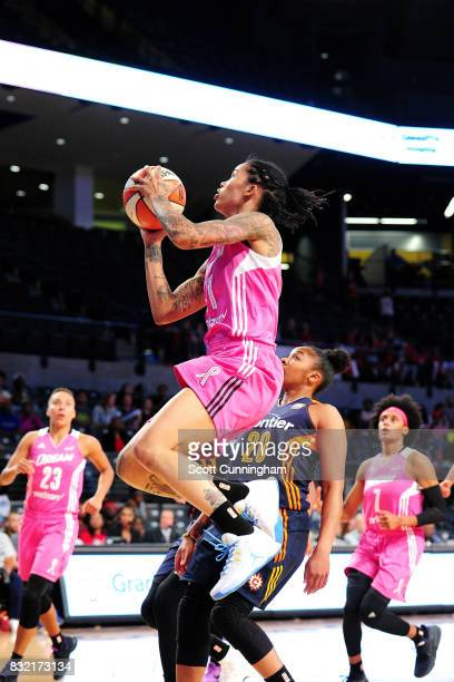 Tamera Young of the Atlanta Dream goes for a lay up during the game against the Connecticut Sun during at WNBA game on August 15 2017 at Hank...