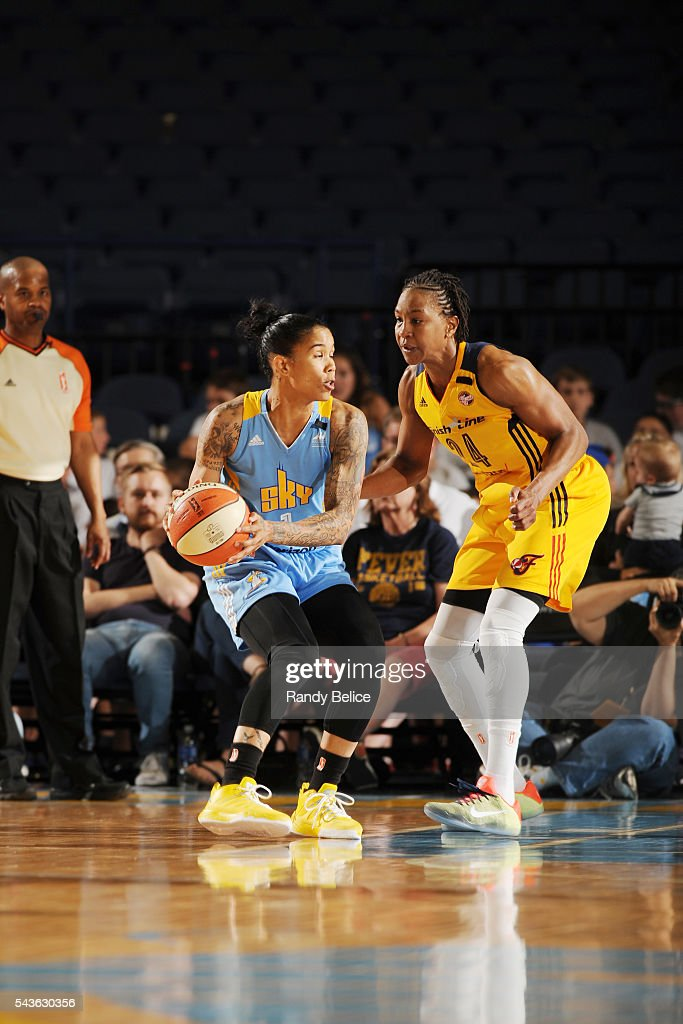 <a gi-track='captionPersonalityLinkClicked' href=/galleries/search?phrase=Tamera+Young&family=editorial&specificpeople=5120885 ng-click='$event.stopPropagation()'>Tamera Young</a> #1 of the Chicago Sky handles the ball against <a gi-track='captionPersonalityLinkClicked' href=/galleries/search?phrase=Tamika+Catchings&family=editorial&specificpeople=202220 ng-click='$event.stopPropagation()'>Tamika Catchings</a> #24 of the Indiana Fever on June 29, 2016 at Allstate Arena in Rosemont, IL.