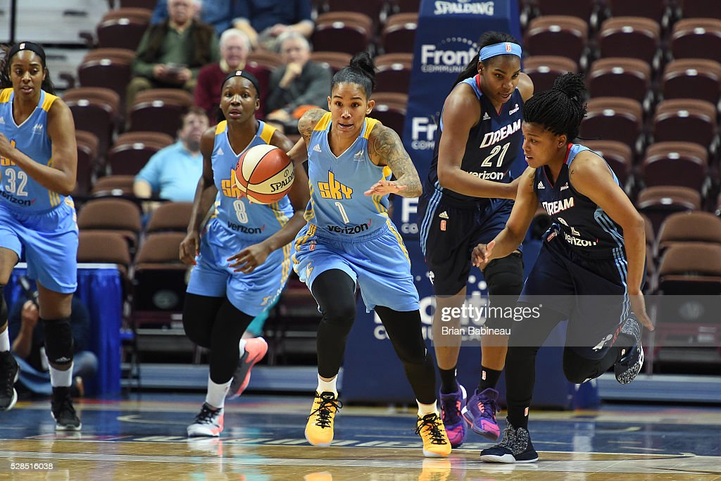 Tamera Young #1 of the Chicago Sky handles the ball against the Atlanta Dream in a WNBA preseason game on May 5, 2016 at the Mohegan Sun Arena in Uncasville, Connecticut.
