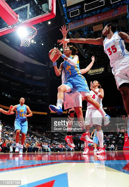 Tamera Young of the Chicago Sky puts up a shot against the Atlanta Dream at Philips Arena on July 16 2011 in Atlanta Georgia NOTE TO USER User...