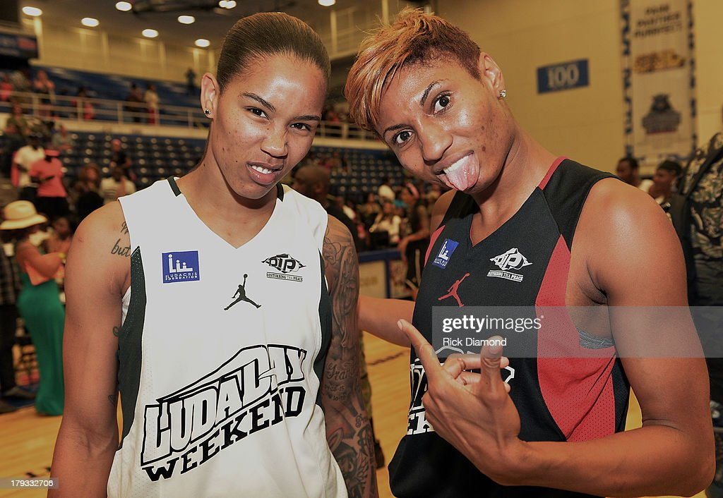 Tamera Young WNBA Chicago Sky and Angel McCoughtry WNBA Atlanta Dream during Neuro Drinks At LudaDay Weekend Celebrity Basketball Game at GSU Sports Arena on September 1, 2013 in Atlanta, Georgia.