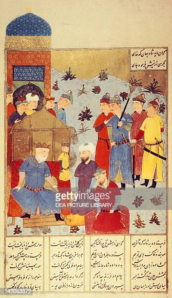 Tamerlan grants an audience Persian miniature 17th Century