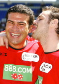 Tamet Hassan and Danny Dyer during The Music Industry Soccer Six May 23 2004 at Madejski Stadium in London United Kingdom