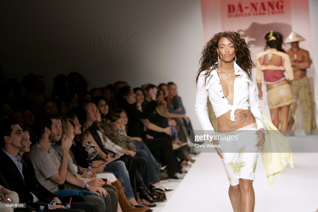 Tami Anderson wearing Da-Nang Spring 2005 during Mercedes-Benz Spring 2005 Fashion Week at Smashbox Studios - Da-Nang - Runway at Smashbox Studios in Culver City, California, United States.