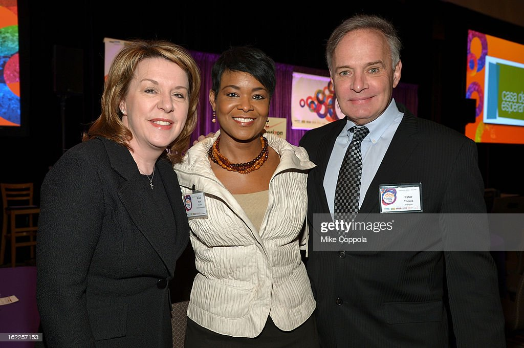 Tami Erwin, Vice President and Chief Marketing Officer, Verizon Wirelesss, Rose Stuckey Kirk, President, Verizon Foundation and Peter Thonis, Chief Communication Officer, Verizon, attend the A Day To Connect, Inspire And Heal Summit on February 21, 2013 in New York City.