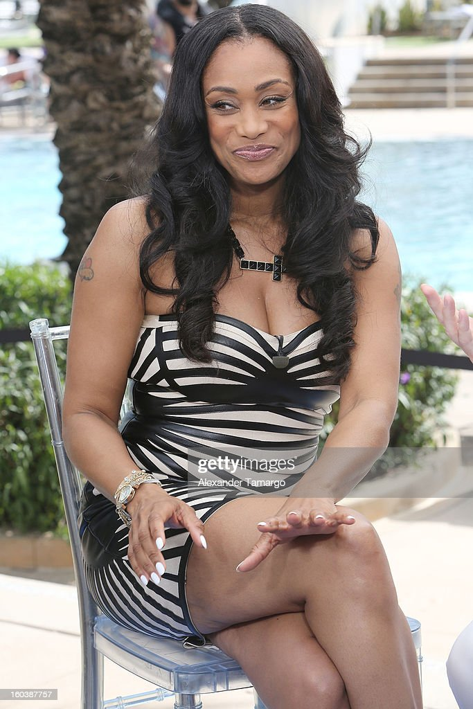 Tami Roman attends Access Hollywood cabana at NAPTE 2013 at Fontainebleau Miami Beach on January 30, 2013 in Miami Beach, Florida.