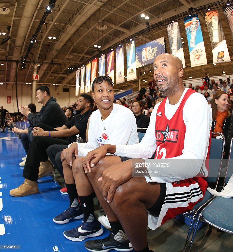 Tamika Catchings and Bruce Bowen talk during the NBA Cares Special Olympics Unified Game as part of 2016 All-Star Weekend at the Enercare Centre on February 13, 2016 in Toronto, Ontario, Canada.