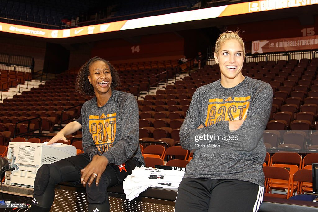 <a gi-track='captionPersonalityLinkClicked' href=/galleries/search?phrase=Tamika+Catchings&family=editorial&specificpeople=202220 ng-click='$event.stopPropagation()'>Tamika Catchings</a> and <a gi-track='captionPersonalityLinkClicked' href=/galleries/search?phrase=Elena+Delle+Donne&family=editorial&specificpeople=5042380 ng-click='$event.stopPropagation()'>Elena Delle Donne</a> of the Eastern Conference All-Stars laugh during the Boost Mobile WNBA All-Star 2015 Game at the Mohegan Sun Arena on July 25, 2015 in Uncasville, Connecticut.