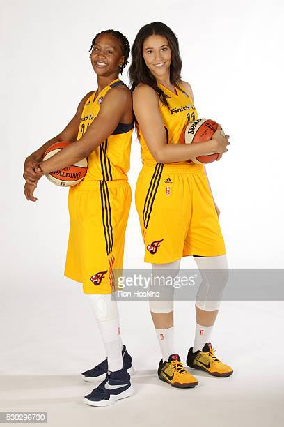 Tamika Catchings and Natalie Achonwa of the Indiana Fever pose for a portrait during Media Day at Bankers Life Fieldhouse on May 9 2016 in...