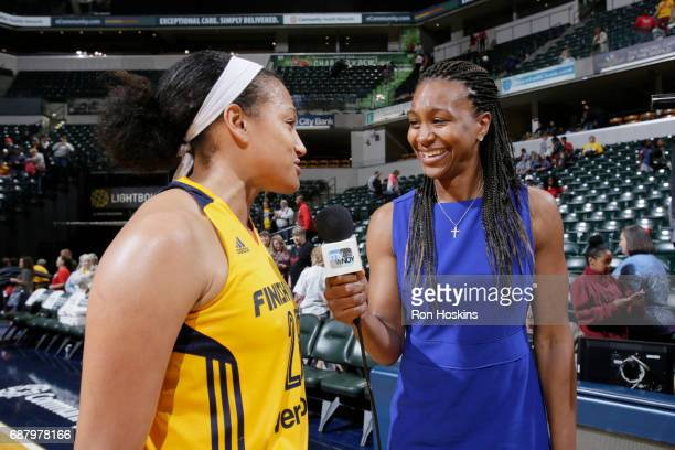 Tamika Catchings interviews Marissa Coleman of the Indiana Fever after a game against the Los Angeles Sparks on May 24 2017 at Bankers Life...