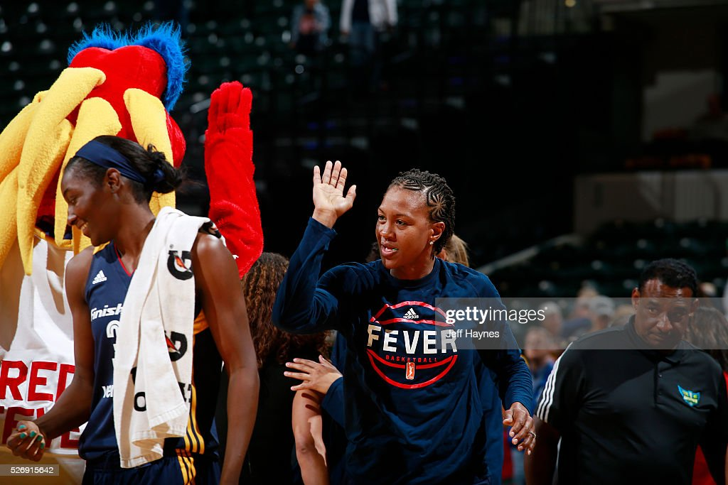 Tamika Catchings #24 of Indiana Fever celebrates during a preseason game against the Dallas Wings on May 1, 2016 at Bankers Life Fieldhouse in Indianapolis, Indiana.