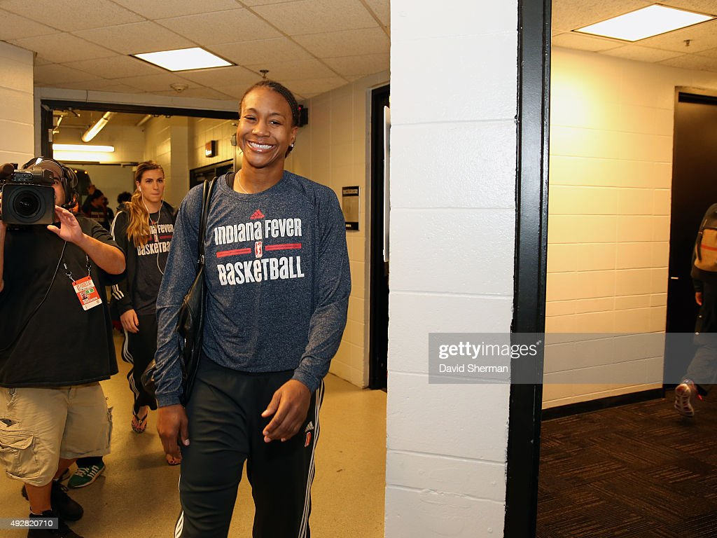 <a gi-track='captionPersonalityLinkClicked' href=/galleries/search?phrase=Tamika+Catchings&family=editorial&specificpeople=202220 ng-click='$event.stopPropagation()'>Tamika Catchings</a> #24 of the Indiana Fever arrives at the areana before Game 5 of the 2015 WNBA Finals against the Minnesota Lynx on October 14, 2015 at Target Center in Minneapolis, Minnesota.