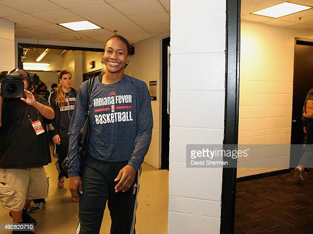 Tamika Catchings of the Indiana Fever arrives at the areana before Game 5 of the 2015 WNBA Finals against the Minnesota Lynx on October 14 2015 at...
