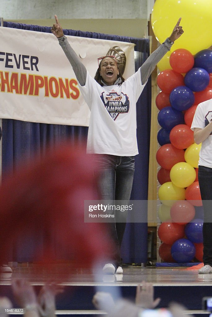 Tamika Catchings of the Indiana Fever as the introduced during the Indiana Fever's WNBA Championship celebration on October 23, 2012 at Bankers Life Fieldhouse in Indianapolis, Indiana.