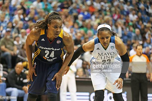 Tamika Catchings of the Indiana Fever boxes out against Maya Moore of the Minnesota Lynx during Game 1 of the 2015 WNBA Finals on October 4 2015 at...