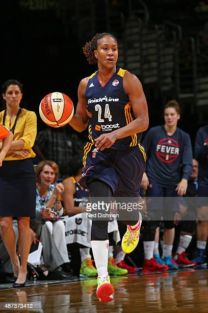 Tamika Catchings of the Indiana Fever dribbles the ball against the Washington Mystics on September 8 2015 at the Verizon Center in Washington DC...