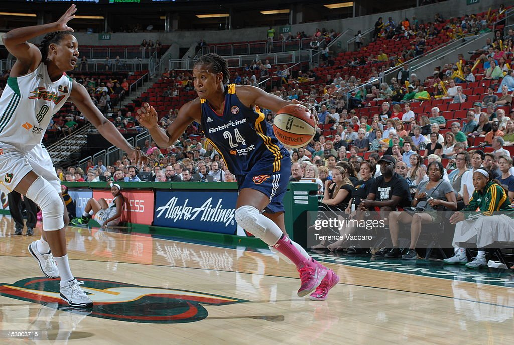 <a gi-track='captionPersonalityLinkClicked' href=/galleries/search?phrase=Tamika+Catchings&family=editorial&specificpeople=202220 ng-click='$event.stopPropagation()'>Tamika Catchings</a> #24 of the Indiana Fever drives to the basket against the Seattle Storm on July 31,2014 at Key Arena in Seattle, Washington.