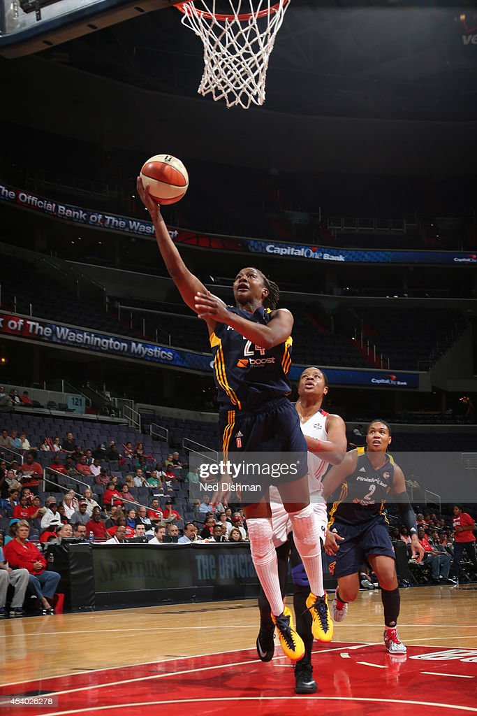 Tamika Catchings #24 of the Indiana Fever drives to the basket against the Washington Mystics in Game Two of the Eastern Conference Semifinals during the 2014 WNBA Playoffs on August 23, 2014 at the Verizon Center in Washington, DC.
