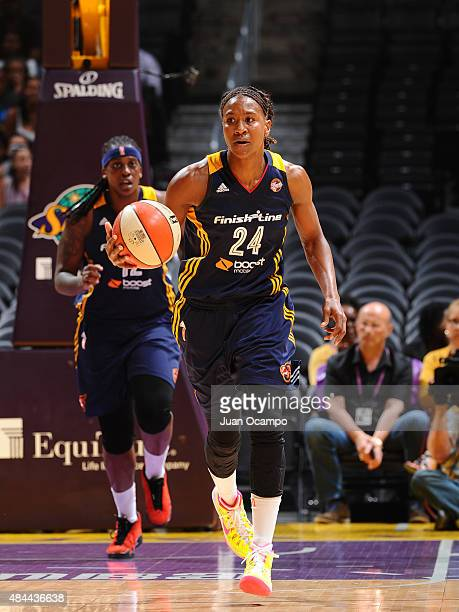 Tamika Catchings of the Indiana Fever handles the ball against the Los Angeles Sparks on August 18 2015 at STAPLES Center in Los Angeles California...