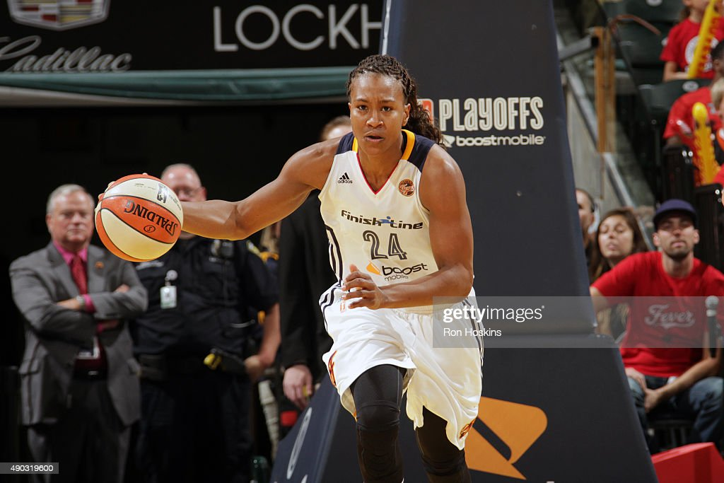 <a gi-track='captionPersonalityLinkClicked' href=/galleries/search?phrase=Tamika+Catchings&family=editorial&specificpeople=202220 ng-click='$event.stopPropagation()'>Tamika Catchings</a> #24 of the Indiana Fever handles the ball against the New York Liberty in game two of the WNBA Eastern Conference Finals at Bankers Life Fieldhouse on September 27, 2015 in Indianapolis, Indiana.