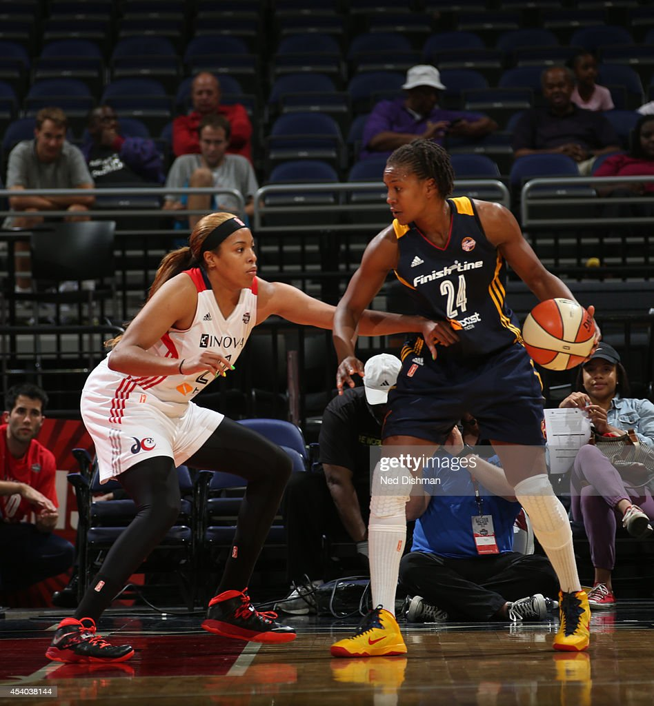Tamika Catchings #24 of the Indiana Fever posts up against the Washington Mystics in Game Two of the Eastern Conference Semifinals during the 2014 WNBA Playoffs on August 23, 2014 at the Verizon Center in Washington, DC.
