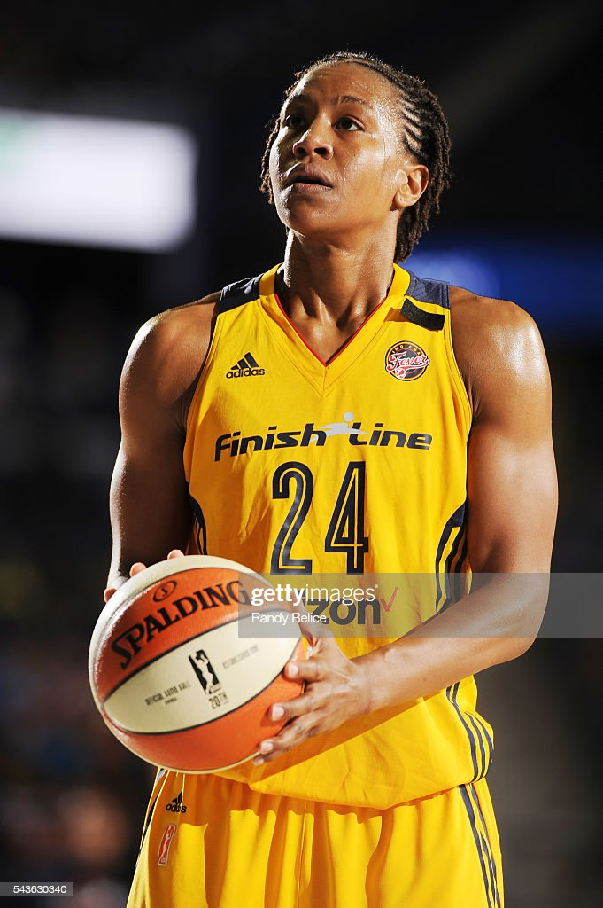 <a gi-track='captionPersonalityLinkClicked' href=/galleries/search?phrase=Tamika+Catchings&family=editorial&specificpeople=202220 ng-click='$event.stopPropagation()'>Tamika Catchings</a> #24 of the Indiana Fever prepares to shoot a free throw against the Chicago Sky on June 29, 2016 at Allstate Arena in Rosemont, IL.