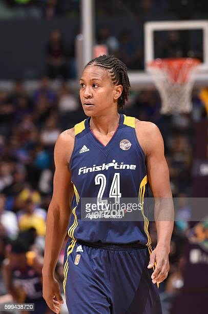 Tamika Catchings of the Indiana Fever reacts to a play against the Los Angeles Sparks on September 4 2016 at the STAPLES Center in Los Angeles...