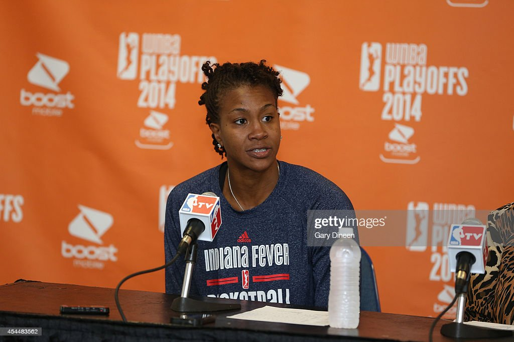 <a gi-track='captionPersonalityLinkClicked' href=/galleries/search?phrase=Tamika+Catchings&family=editorial&specificpeople=202220 ng-click='$event.stopPropagation()'>Tamika Catchings</a> #24 of the Indiana Fever responds to a question from the media during a press conference following game two of the WNBA Eastern Conference Finals against the Chicago Sky as part of the 2014 WNBA Playoffs on September 1, 2014 at Allstate Arena in Rosemont, Illinois.