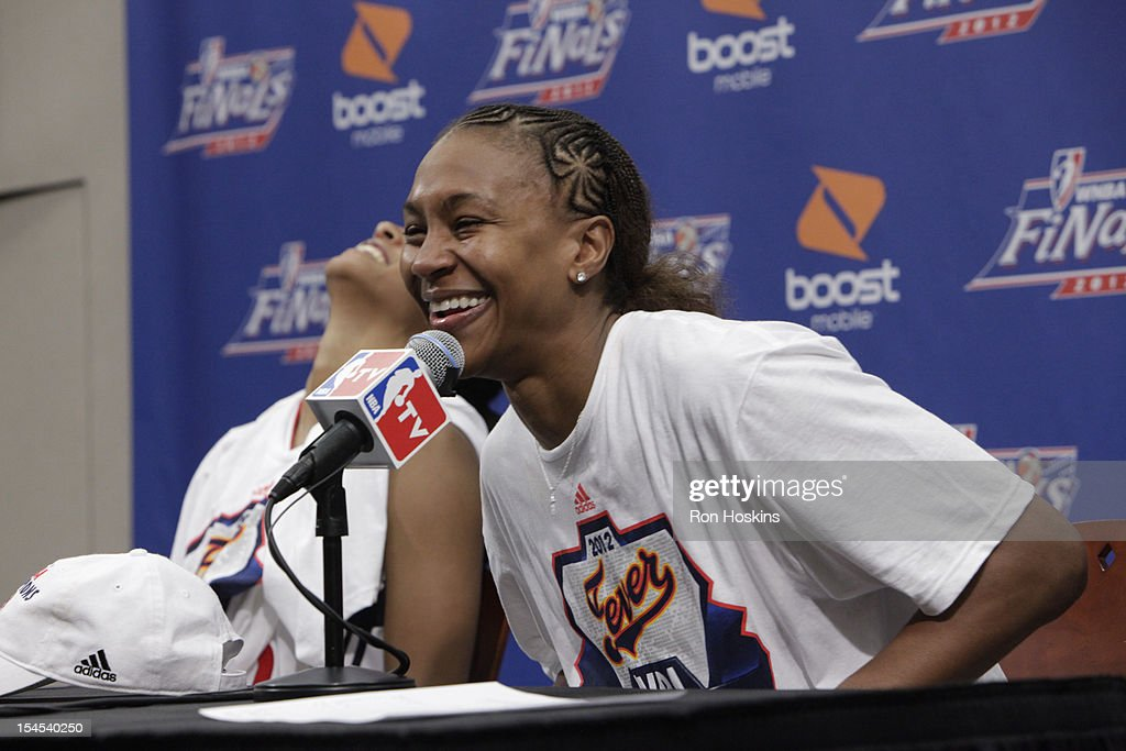 Tamika Catchings #24 of the Indiana Fever speaks to the media after Game four of the 2012 WNBA Finals on October 21, 2012 at Bankers Life Fieldhouse in Indianapolis, Indiana.