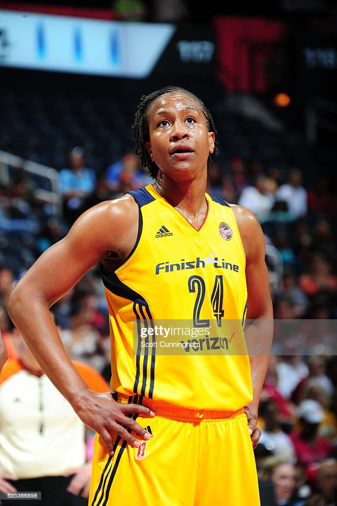 <a gi-track='captionPersonalityLinkClicked' href=/galleries/search?phrase=Tamika+Catchings&family=editorial&specificpeople=202220 ng-click='$event.stopPropagation()'>Tamika Catchings</a> #24 of the Indiana Fever stands on the court during the game against the Atlanta Dream on May 29, 2016 at Philips Arena in Atlanta, Georgia.