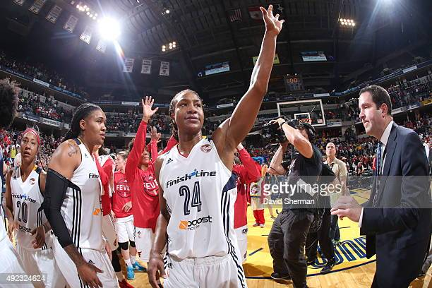 Tamika Catchings of the Indiana Fever waves to the crowd after a victory against the Minnesota Lynx Game Four of the 2015 WNBA Finals on October 11...