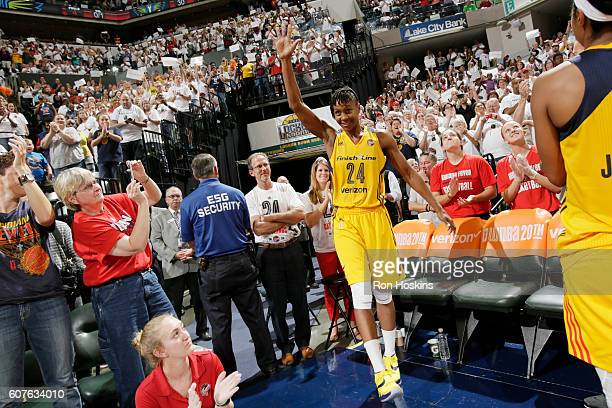 Tamika Catchings of the Indiana Fever waves to the crowd after the game against the Dallas Wings on September 18 2016 at Bankers Life Fieldhouse in...