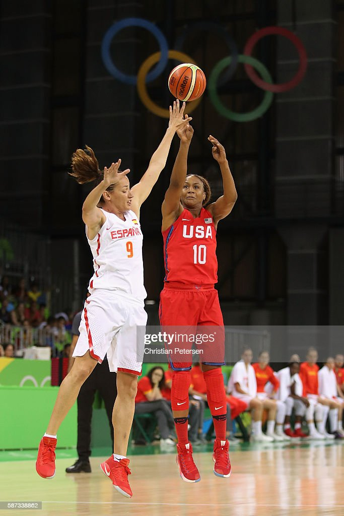 Tamika Catchings #10 of United States attempts a shot over Laia Palau #9 of Spain during the women's basketball game on Day 3 of the Rio 2016 Olympic Games at the Youth Arena on August 8, 2016 in Rio de Janeiro, Brazil.