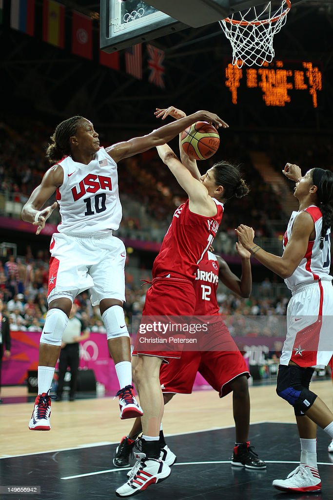 Tamika Catchings #10 of United States blocks a shot in the Women's Basketball Preliminary Round match between the United States and Turkey on Day 5 of the London 2012 Olympic Games at Basketball Arena on August 1, 2012 in London, England.