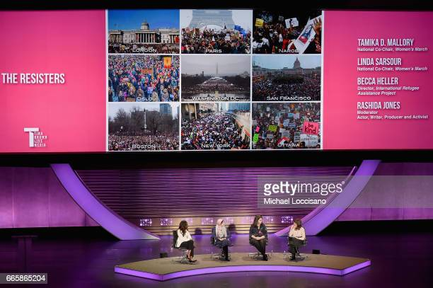 Tamika D Marllory Linda Sarsour Becca Heller and Rashida Jones speak during the Eighth Annual Women In The World Summit at Lincoln Center for the...
