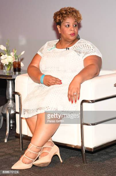 Tamika Felder onstage at 'The Immortal Life Of Henrietta Lacks' Viewing Panel Discussion with Renee Elise Goldsberry Dr Jessica Shepherd Dr Jackie...