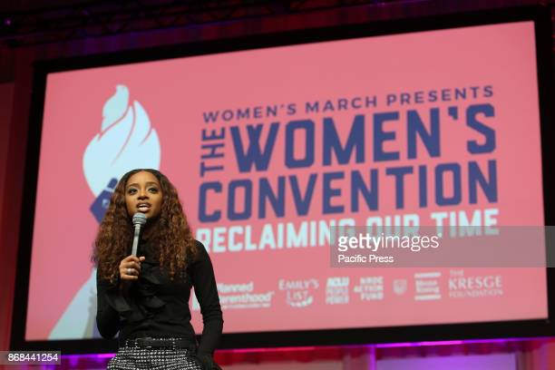 Tamika Mallory National cochair of Women's March speaks at the The Womens Convention at Cobo Center on 29th October 2017 in Detroit Michigan