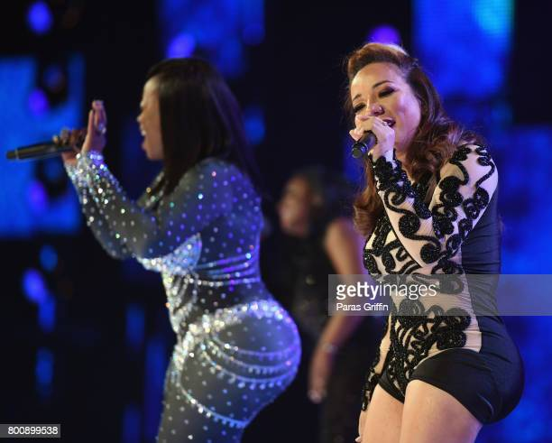 Tamika Scott and Tameka Cottle of Xscape peform onstage at 2017 BET Awards at Microsoft Theater on June 25 2017 in Los Angeles California