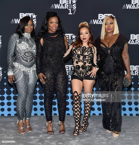 Tamika Scott Kandi Burruss Tameka Cottle and LaTocha Scott of Xscape pose in the press room at the 2017 BET Awards at Microsoft Theater on June 25...