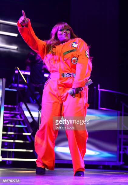 Tamika Scott of Xscape performs during The Great Xscape tour at American Airlines Arena on December 5 2017 in Miami Florida
