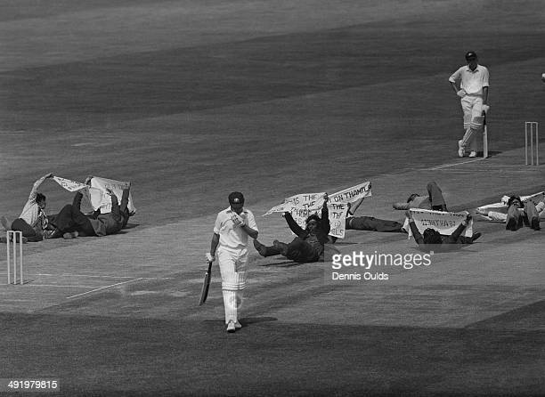Tamil demonstrators invade the pitch during a Cricket World Cup Group B match between Australia and Sri Lanka at the Oval London 11th June 1975...