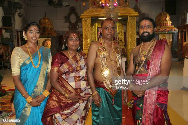 Tamil Hindu devotees celebrate during the Mahotsava Festival at a Hindu temple in Ontario Canada