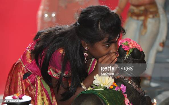 Tamil Hindu girl whispers her wish in the ear of the bull Nandi at a Hindu temple in Ontario Canada It is believed that by whispering their prayers...