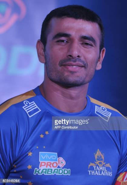Tamil Thaliva Team kabaddi captain Ajay Thakur poses during an event for the fifth edition of the Pro Kabaddi League 2017 in Hyderabad on July 27...