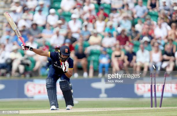 Tamim Iqbal is bowled by Adam Milne during the Kent Spitfires v Essex Eagles NatWest T20 Blast cricket match at the County Ground on July 09 2017 in...
