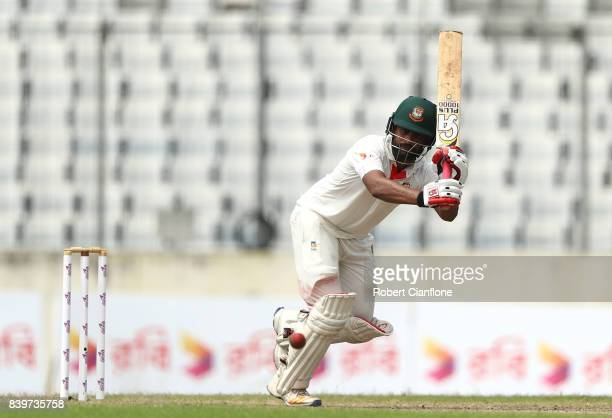 Tamim Iqbal Khan of Bangladesh bats during day one of the First Test match between Bangladesh and Australia at Shere Bangla National Stadium on...