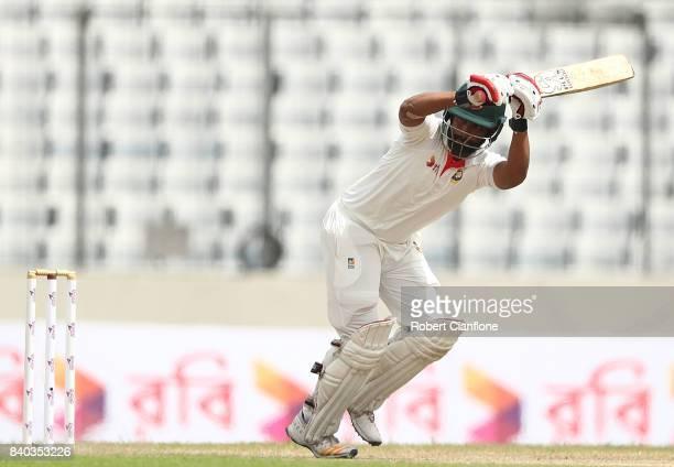 Tamim Iqbal Khan of Bangladesh bats during day three of the First Test match between Bangladesh and Australia at Shere Bangla National Stadium on...